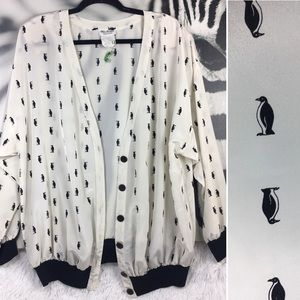 Sweaters - VINTAGE Penguin Print Bomber Button Up Cardigan